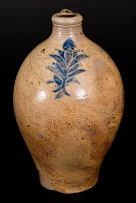 Rare and Fine Manhattan, NY Stoneware Jug w/ Incised Foliate Decoration,  late 18th century