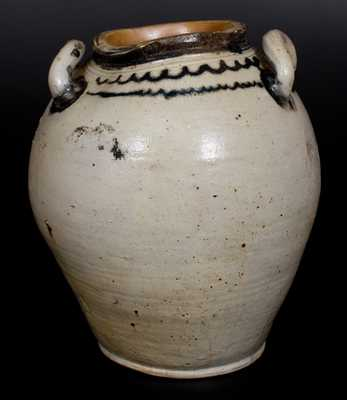 Four-Gallon Open-Handled Manhattan Stoneware Jar with Cobalt Line Decoration, c1800