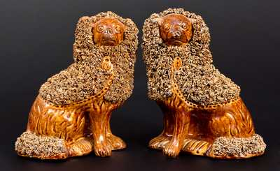 Unusual Pair of Rockingham-Glazed Spaniels, probably New York State origin, c1860