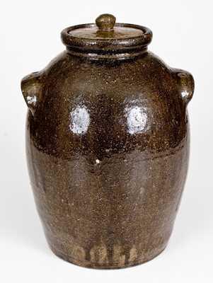 Rare D. S., Daniel Seagle, Vale, NC Alkaline-Glazed Stoneware Lidded Jar, c1840