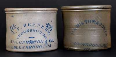 Lot of Two: Cobalt-Stenciled Stoneware Crocks, Greensboro, PA origin