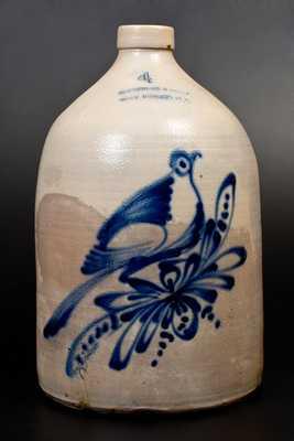 4 Gal. SATTERLEE & MORY / FORT EDWARD, N.Y. Stoneware Bird Jug
