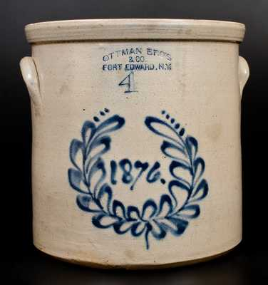 1876 OTTMAN BRO'S & CO. / FORT EDWARD, NY Stoneware Crock