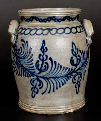 Important B. C. MILBURN, Alexandria, VA Stoneware Jar w/ Elaborate Slip-Trailed Design