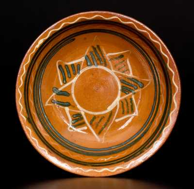 Snow Hill Nunnery Redware Bowl w/ Central Cream and Green Slip Star Design