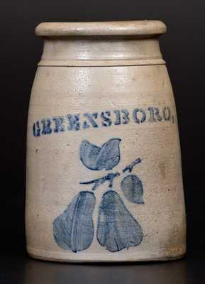 Western PA Stoneware Wax Sealer Stenciled GREENSBORO Above Pears