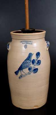 Rare 6 Gal. E. W. FARRINGTON / ELIMIRA, NY Stoneware Bird Churn w/ Molded Handles