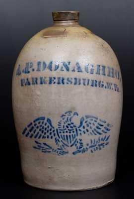 A. P. DONAGHHO, / PARKERSBURG, W. Va Stoneware Jug w/ Stenciled Eagle Design