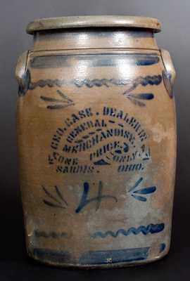 4 Gal. SARDIS, OHIO Stoneware Advertising Jar, Western PA origin