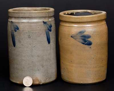 Lot of Two: Quart Stoneware Jars w/ Cobalt Decoration att. R. J. Grier, Chester County, PA