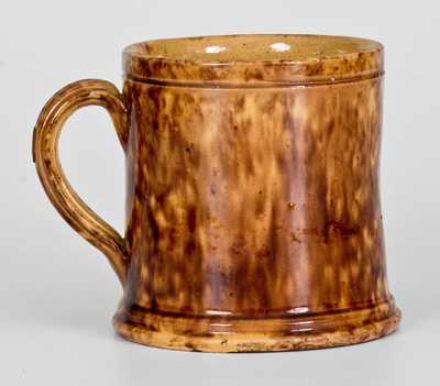 JOHN BELL, Waynesboro, PA, Redware Mug with Rockingham Glaze