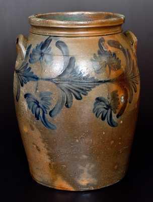 Rare 6 Gal. J. KEISTER & CO. / STRASBURG, VA Stoneware Jar w/ Cobalt Floral Decoration