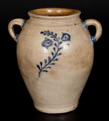 Open-Handled Stoneware Jar w/ Fine Incised Floral Decoration, Manhattan, circa 1790