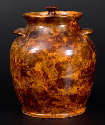 Rare and Fine Redware Lidded Jar,