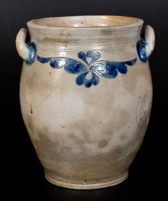 3 Gal. Manhattan Stoneware Jar w/ Incised Decoration, circa 1810