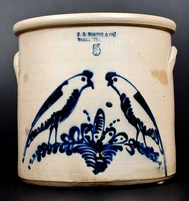 Exceptional F. B. NORTON & CO. / WORCESTER, MASS. Double Parrot Stoneware Crock