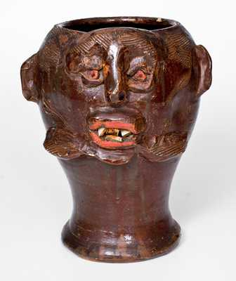 Exceptional Southern Stoneware Face Vessel / Wig Stand, circa 1910-40