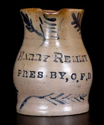Charles F. Decker, Sr., Keystone Pottery, Chucky Valley, Tennessee Stoneware Pitcher for Harry Remmey of Philadelphia