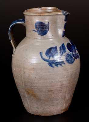 Rare John P. Schermerhorn 3 Gal. Stoneware Pitcher with Profuse Cobalt Decoration