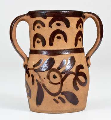 Rare Open-Handled Tanware Vase, New Geneva or Greensboro, PA origin, circa 1885.