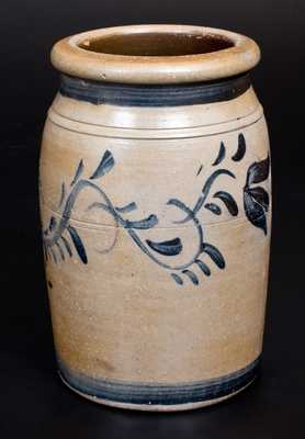 Rare One-Gallon Stoneware Jar with Cobalt Floral Decoration, Stamped