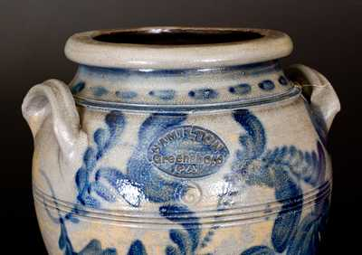 Outstanding HAMILTON / GREENSBORO, PA Stoneware 6 Gal. Pedestal Cooler with Elaborate Brushed Floral Decoration