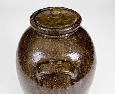 Rare 2 1/2 Gal. Alkaline-Glazed Stoneware Lidded Jar Marked D. S., Daniel Seagle, Vale, NC, circa 1840