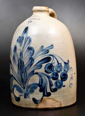 Exceptional 3 Gal. M. & T. MILLER / NEWPORT, PA Stoneware Jug with Elaborate Grapes Decoration