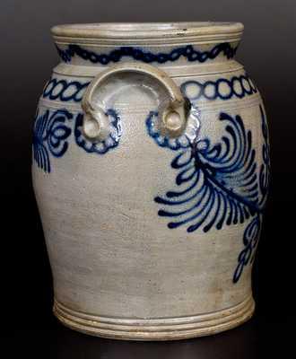 Exceptional B. C. MILBURN / ALEXA, Alexandria, VA Stoneware Jar with Elaborate Slip-Trailed Decoration