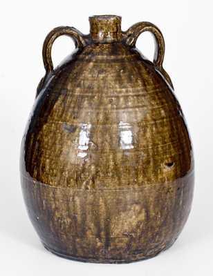 Very Fine CJB, Columbus Jackson Becham, Crawford County, GA Squat Double-Handled Stoneware Jug with Vibrant Alkaline Glaze