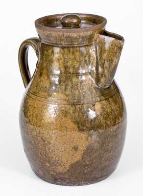 Scarce Crawford County, GA Stoneware Coffee Pot with Vibrant Alkaline Glaze