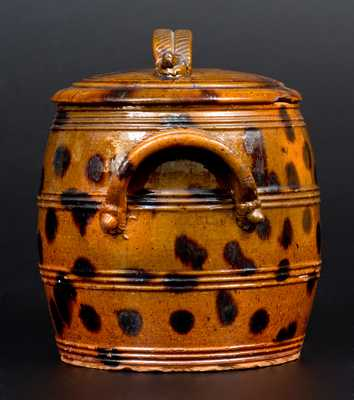 Exceptional Lidded PA Redware Jar w/ Manganese Splotches and Unusual Acorn Handle Terminals