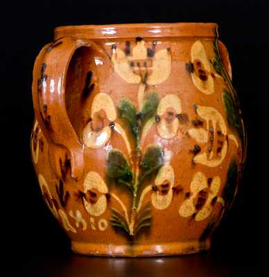 Important 1810 Bucks County, PA Redware Jar w/ Profuse Slip Floral Decoration