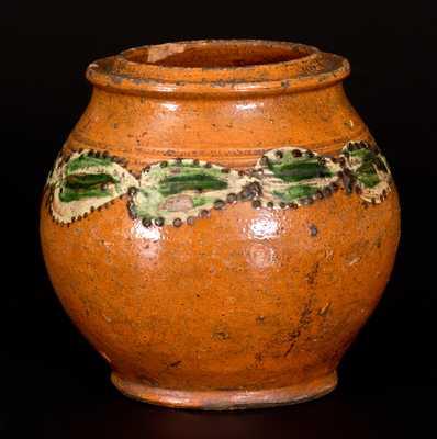 Very Rare Morgantown School Slip-Decorated Redware Jar