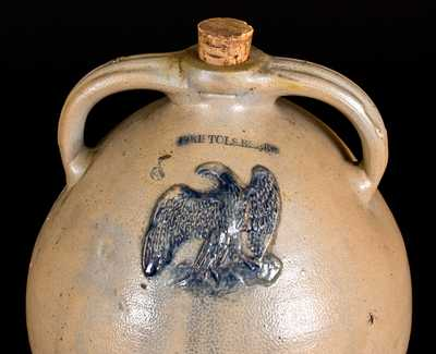 Extremely Rare J. CLARK & CO. / TROY, BRISTOLS BEER Stoneware Cooler w/ Applied Eagle