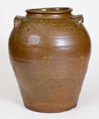 Fine Pottersville, Edgefield District, SC Alkaline-Glazed Stoneware Jar with Impressed Mark at Base