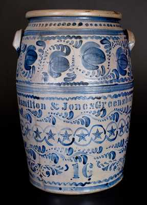 Profusely-Decorated Sixteen-Gallon Hamilton & Jones / Greensboro Stoneware Jar