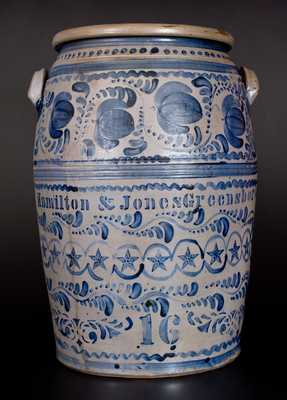 Exceptional 16 Gal. HAMILTON & JONES / GREENSBORO Stoneware Jar with Profuse Brushed and Stencilled Decoration