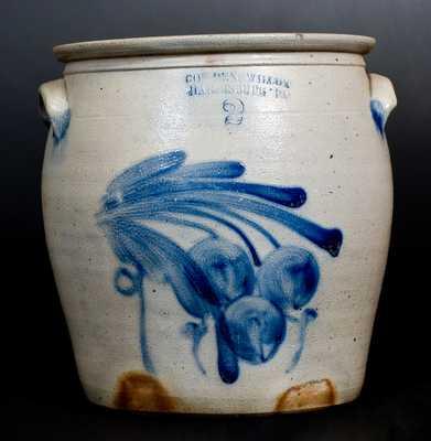 Two-Gallon COWDEN & WILCOX / HARRISBURG PA Stoneware Jar w/ Cherries Design