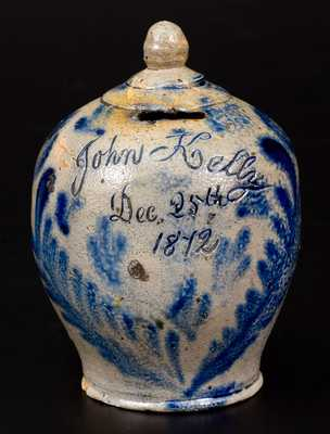 Fine and Rare Stoneware Christmas Day Presentation Bank, Remmey, Philadelphia, 1872
