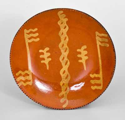 Slip-Decorated Redware Plate, Philadelphia, PA origin, second quarter 19th century