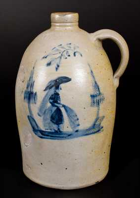 Outstanding Morgantown, WV Stoneware Jug w/ Woman Decoration