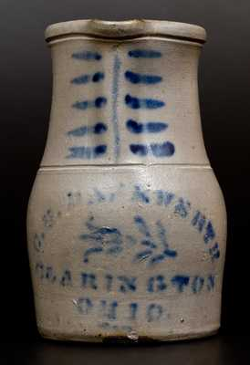 Rare Western PA Stoneware Pitcher w/ CLARINGTON, OHIO Stencilled Advertising