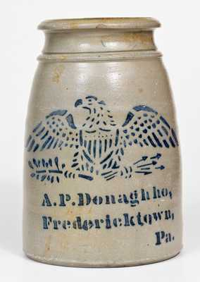 Scarce and Fine A.P. Donaghho, / Fredericktown, / Pa. Stoneware Canning Jar w/ Stenciled Eagle
