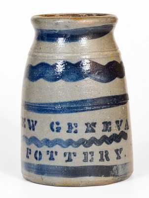 Possibly Unique NEW GENEVA POTTERY Stoneware Canning Jar w/ Cobalt Tree Decoration