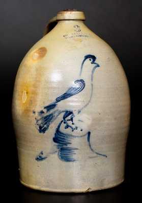 COWDEN & WILCOX / HARRISBURG, PA Stoneware Jug w/ Large Bird-on-Stump Design