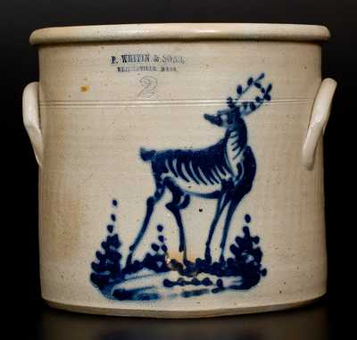 Norton (Bennington, VT) Stoneware Deer Crock and Impressed WHITINSVILLE, MASS Advertising