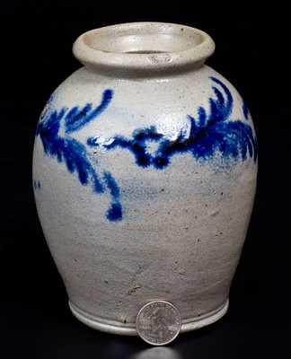 Very Fine Pint-Sized Stoneware Jar with Slip-Trailed Decoration, Baltimore, circa 1820