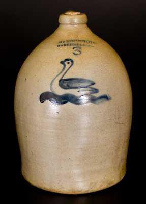 3 Gal. COWDEN & WILCOX / HARRISBURG, PA Stoneware Jug w/ Swan Decoration