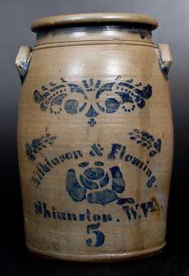 5 Gal. Wilkinson & Fleming / Shinnston, W. Va. Stoneware Jar w/ Stenciled Rose Decoration